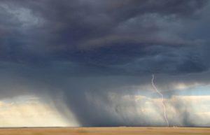 Scene of Rainstorm with Lightning