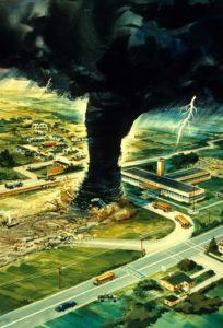 Depiction of a Tornado Heading Toward a School