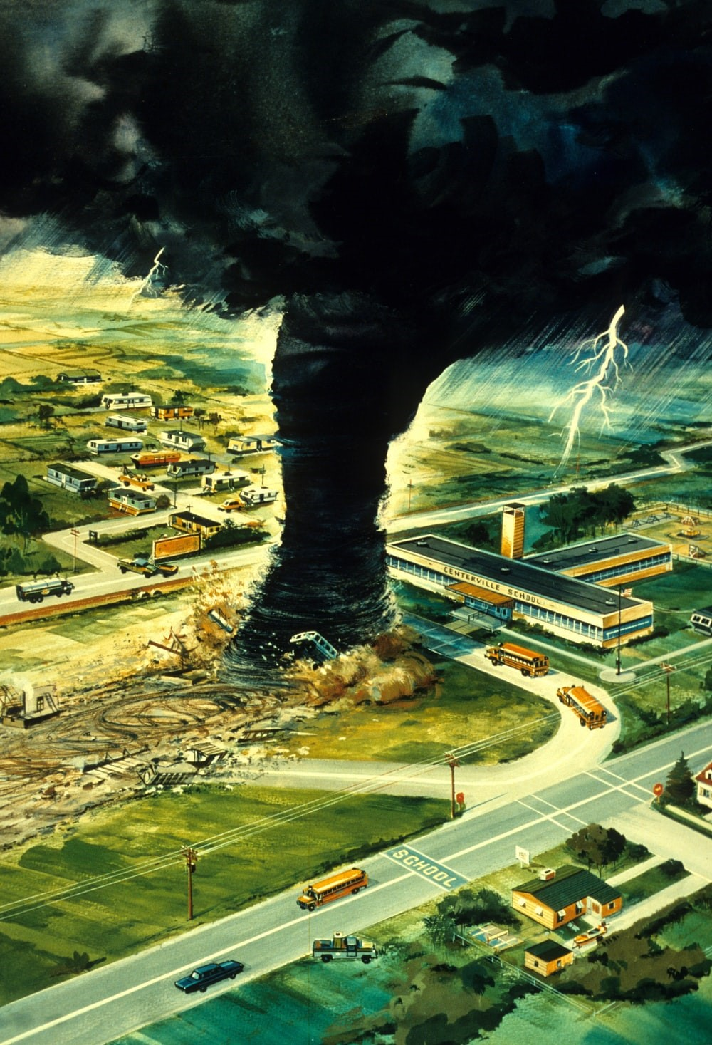 Depiction of a Tornado Heading Toward a School