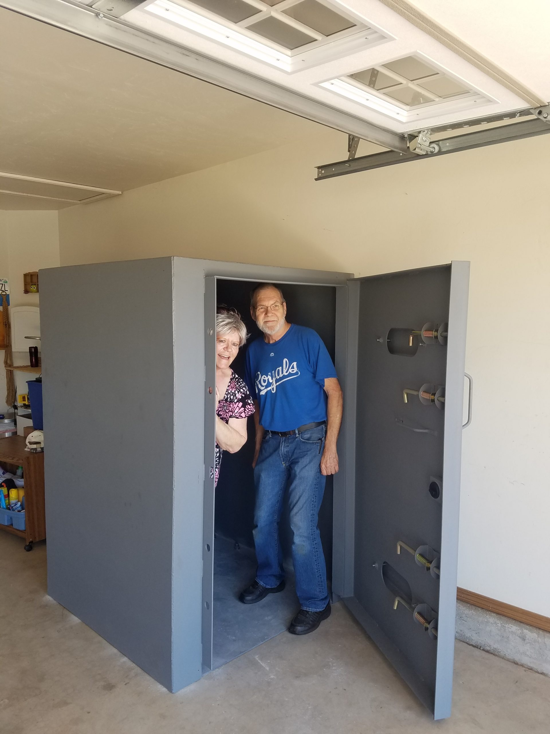 Older Adults Standing in an Aboveground Tornado Safe Room Installed in their Garage