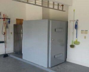 Tornado Shelter installed in a Garage