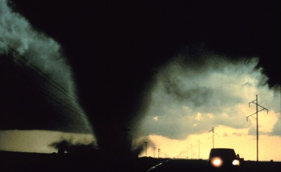 car driving from tornado