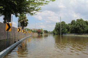A flooded street following Hurricane Harvey